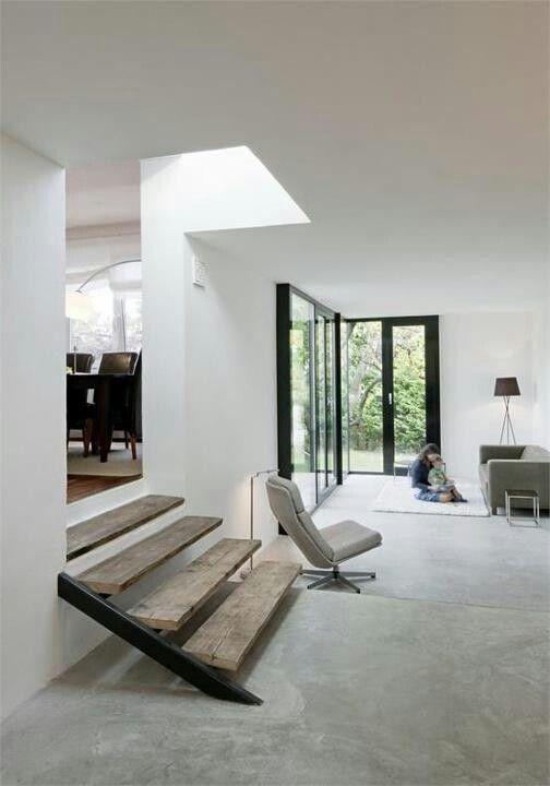 Betonlook vloer twee niveau's